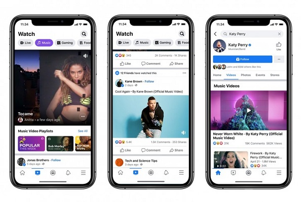 Facebook official music videos