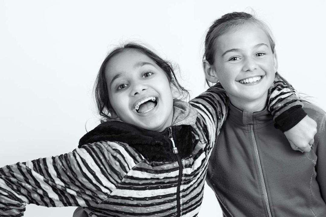 BFF girls smiling