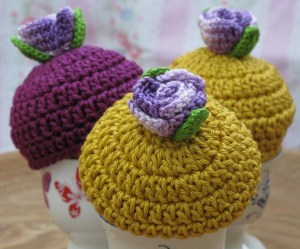 hand crocheted egg cosy