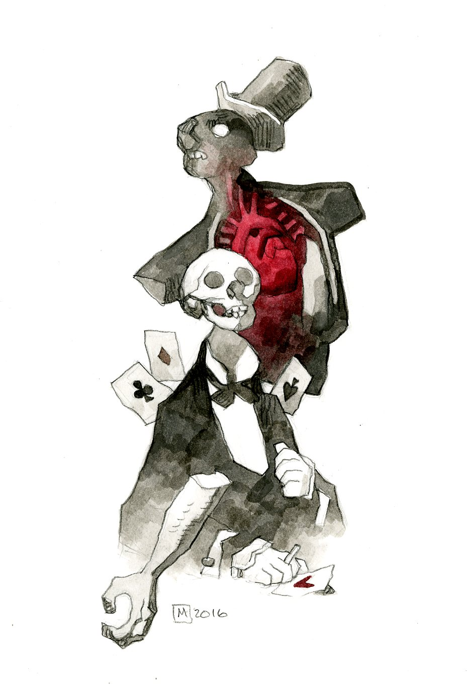 "SOLD ""The Tell Tale Heart"" — Mike Mignola. Ink wash, watercolor and black colored pencil. 7.5"" x 10"". $2500 USD"