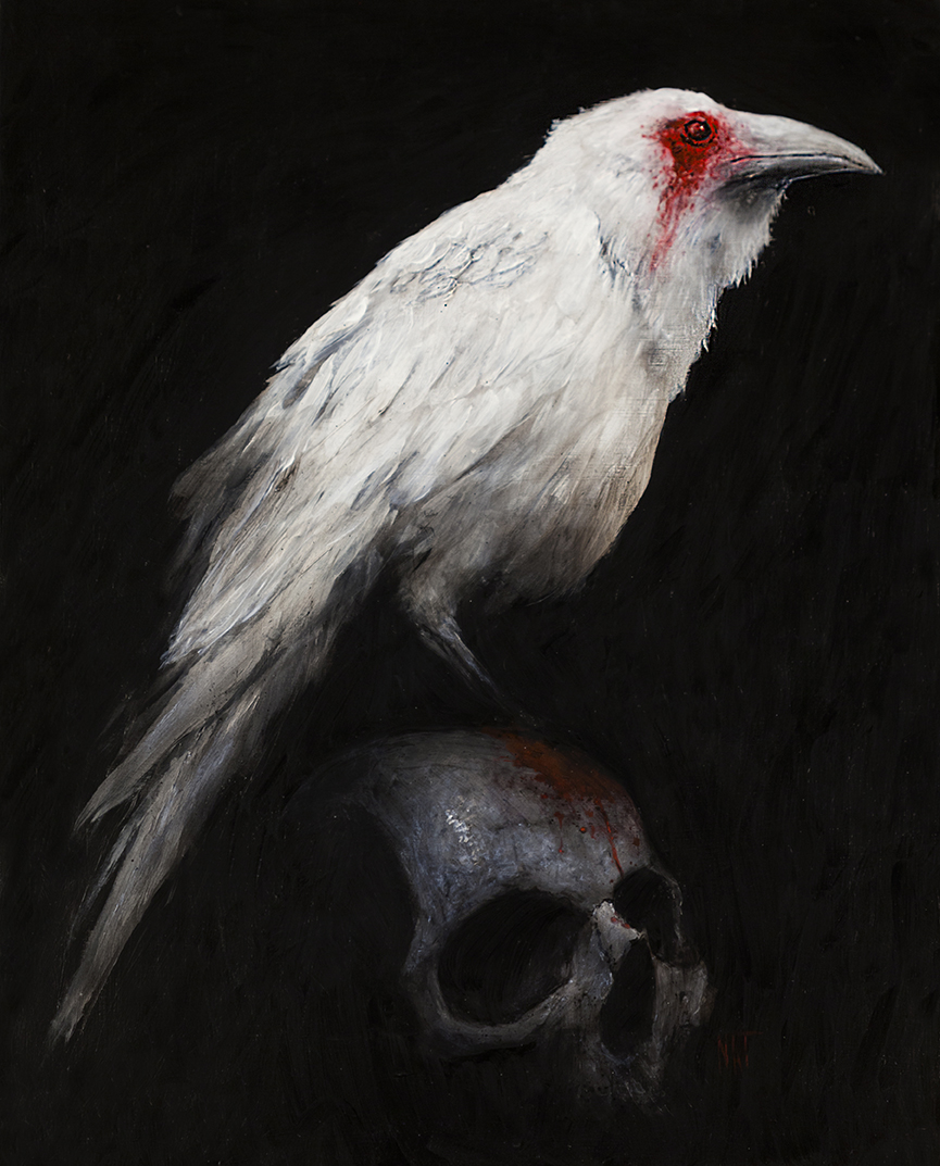 "SOLD ""White Raven"" — 16x20 acrylic on wood panel, framed. $2200.00 CAD"