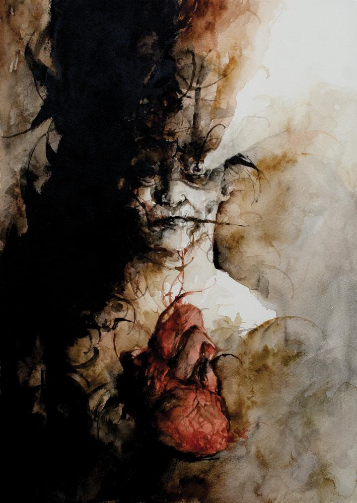 """Eye and Heart"" — Daniele Serra. 12""x16"" Watercolour on paper. $900 USD"