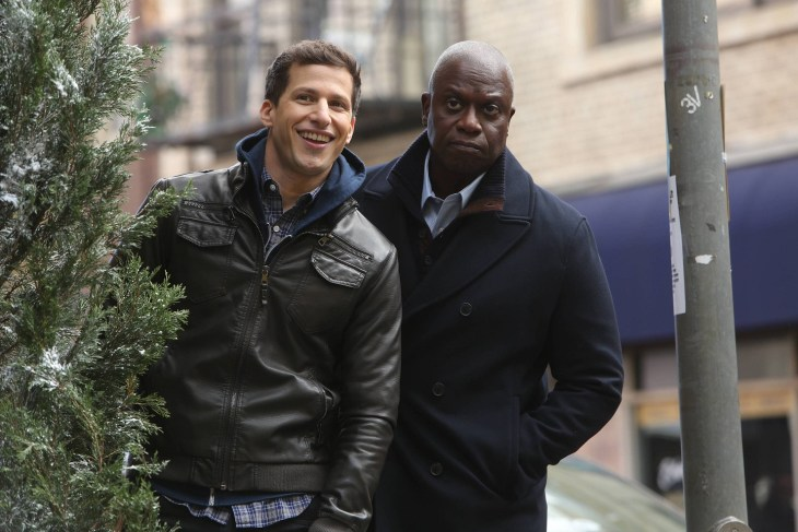 """BROOKLYN NINE-NINE: Andy Samberg and Andre Braugher in the """"Nine Days"""" episode of BROOKLYN NINE-NINE airing Tuesday, Jan. 19 (9:00-9:30 PM ET/PT) on FOX. ©2015 Fox Broadcasting Co. CR: Jordin Althaus/FOX."""