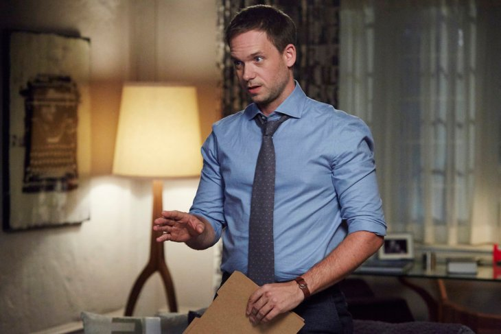 "SUITS -- ""The Painting"" Episode 612 -- Pictured: Patrick J. Adams as Michael Ross -- (Photo by: Shane Mahood/USA Network)"