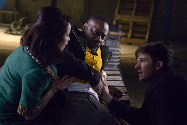 "TIMELESS -- ""The Red Scare"" Episode 115 -- Pictured: (l-r) Abigail Spencer as Lucy Preston, Malcolm Barrett as Rufus Carlin, Matt Lanter as Wyatt Logan -- (Photo by: Sergei Bachlakov/NBC)"
