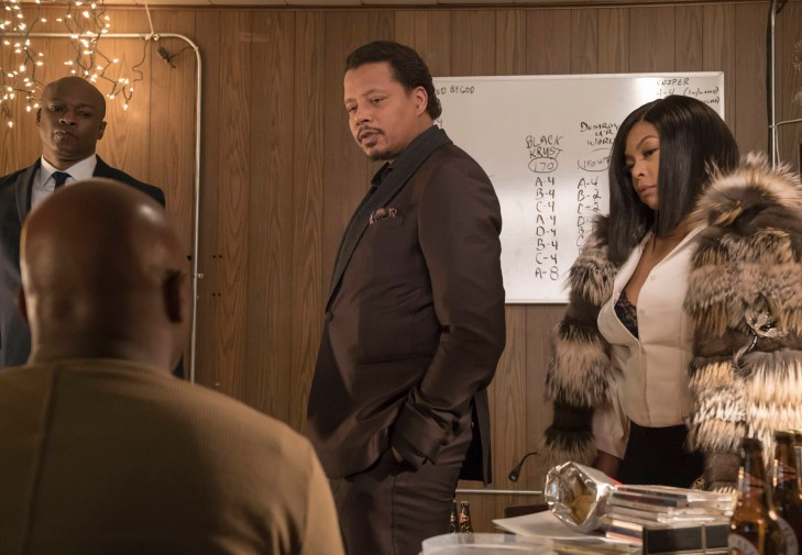 "EMPIRE: Pictured L-R: Web, Terrence Howard and Taraji P. Henson in the ""Sound & Fury"" spring premiere episode of EMPIRE airing Wednesday, March 22 (9:00-10:00 PM ET/PT) on FOX. ©2017 Fox Broadcasting Co. CR: Chuck Hodes/FOX"