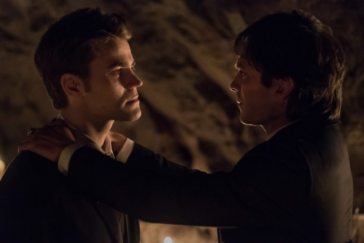"""The Vampire Diaries -- """"I Was Feeling Epic"""" -- Image Number: VD816c_0507.jpg -- Pictured (L-R): Paul Wesley as Stefan and Ian Somerhalder as Damon -- Photo: Annette Brown/The CW -- ©2017 The CW Network, LLC. All Rights Reserved."""