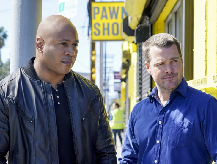 """Battle Scars"" -- Pictured: LL COOL J (Special Agent Sam Hanna) and Chris O'Donnell (Special Agent G. Callen). After a highly decorated Navy Captain, Charles Langston (Carl Lumbly), kidnaps a Veterans Affairs administrator who has been siphoning funds, the NCIS team must work with Hetty's former Vietnam War colleagues, Retired Admiral AJ Chegwidden (John M. Jackson) and Admiral Sterling Bridges (James Remar) to solve the case, on NCIS: LOS ANGELES, Sunday, April 23 (8:00-9:00 PM, ET/PT), on the CBS Television Network. Photo: Cliff Lipson/CBS ©2017 CBS Broadcasting, Inc. All Rights Reserved."