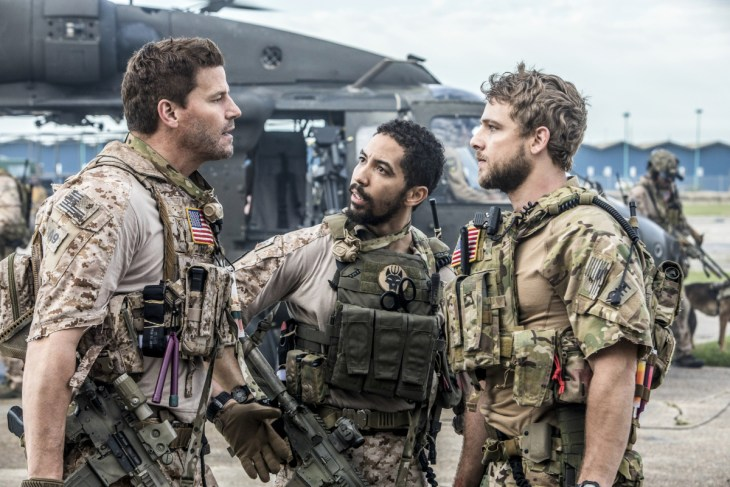 SEAL TEAM stars David Boreanaz (left), as Jason Hayes, in a military drama that follows the professional and personal lives of the most elite unit of Navy SEALs as they train, plan and execute the most dangerous, high stakes missions our country can ask of them. His tight-knit SEAL team includes Ray (Neil Brown Jr., center), and Clay Spenser (Max Thieriot, right). This fall, SEAL TEAM will be broadcast Wednesdays (9:00-10:00 PM, ET/PT) on the CBS Television Network. Photo: Skip Bolen/CBS ©2017 CBS Broadcasting, Inc. All Rights Reserved