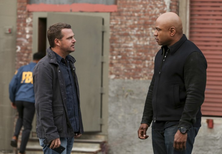 """Uncaged"" -- Pictured: Chris O'Donnell (Special Agent G. Callen) and LL COOL J (Special Agent Sam Hanna). After Sam's wife, Michelle (Aunjanue Ellis), is taken from her home, the kidnappers demand the prison release of Tahir Khaled (Anslem Richardson), Sam's arch nemesis, in exchange for information on her whereabouts, on NCIS: LOS ANGELES, Sunday, May 7 (8:00-9:00 PM, ET/PT), on the CBS Television Network. Photo: Michael Yarish/CBS ©2017 CBS Broadcasting, Inc. All Rights Reserved."