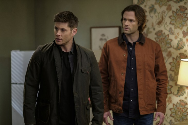 "Supernatural --""The Future"" -- SN1219a_0252.jpg -- Pictured (L-R): Jensen Ackles as Dean and Jared Padalecki as Sam -- Photo: Robert Falconer/The CW -- © 2017 The CW Network, LLC. All Rights Reserved"