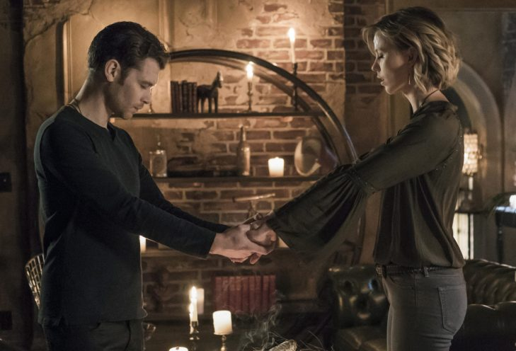 """The Originals -- """" A Spirit Here Won't Be Broken"""" -- Image Number: OR411b_0285.jpg -- Pictured (L-R): Joseph Morgan as Klaus and Riley Voelkel as Freya -- Photo: Annette Brown/The CW -- © 2017 The CW Network, LLC. All rights reserved."""