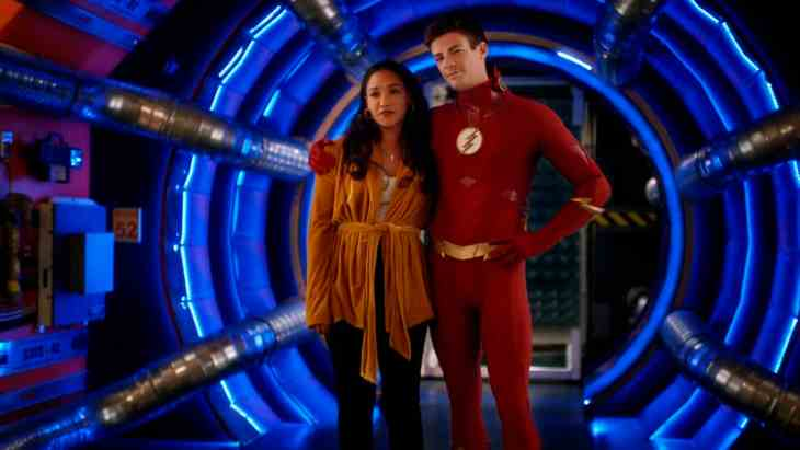 The Flash Season 5 Episode 10 - Candice Patton as Iris West - Allen and Grant Gustin as Barry Allen/The Flash