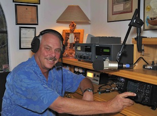 stu browne operating his ham radio station