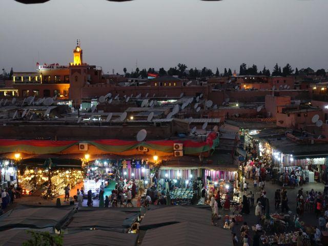 Vistas desde terraza a Jemaa el Fna