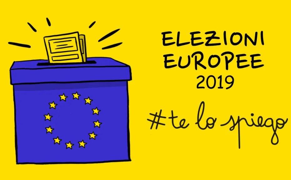 thumbnail video #telospiego sulle elezioni europee di maggio 2019 con urna elettorale simbolo UE e scheda voto