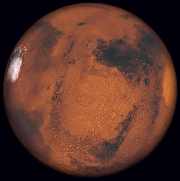 Simulació de l'aspecte de Mart el dia 14 d'abril de 2014, a les 21:00