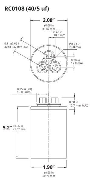 TEMCo 405 MFD uF Dual Run Capacitor 370 440 vac Volts AC