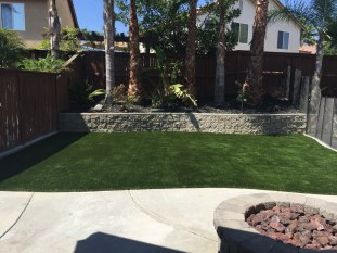 Artificial turf rear yard in Temecula McCabe's Landscape Construction