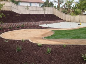 DG patio and pathways with grass and sand in Lake Elsinore McCabe's Landscape Construction