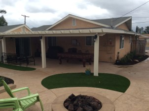 Alumawood patio cover with lights in Oceanside McCabe's Landscape Construction