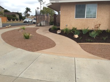 Gravel front yard with concrete sidewalk in Oceanside McCabe's Landscape Construction