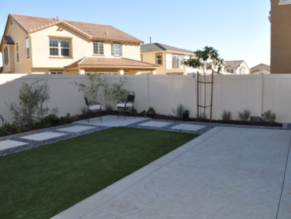 Modern concrete with artificial turf in Temecula McCabe's Landscape Construction