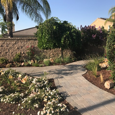 Landscape pathway made of interlocking concrete pavers