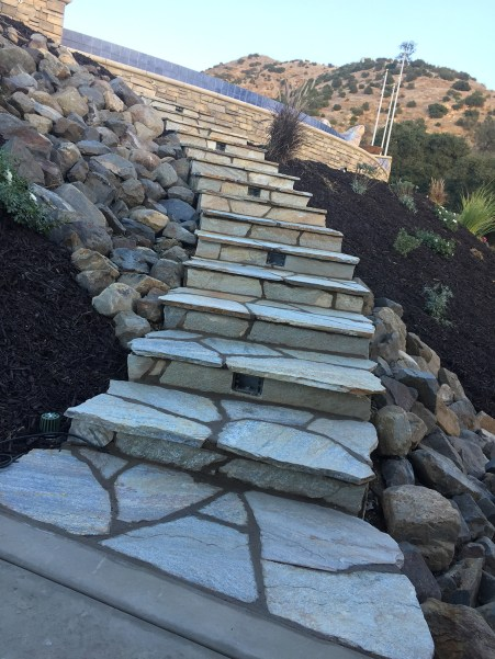 Flagstone faced steps