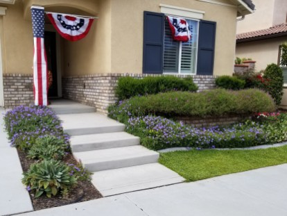 Front yard with colorful plantings