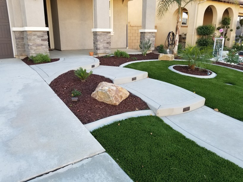 Front yard with artificial turf