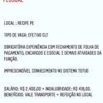 ANALISTA DE DEPARTAMENTO PESSOAL (ENVIAR CV ATE 30/05/2020) – RECIFE/PE