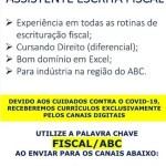 ASSISTENTE ESCRITA FISCAL – ABC/SP