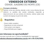 VENDEDOR EXTERNO (ENVIAR CV ATE 11/06/2020) – JUAZEIRO DO NORTE/CE
