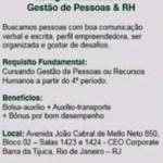 ESTÁGIO GESTÃO DE PESSOAS E RH – RIO DE JANEIRO/RJ