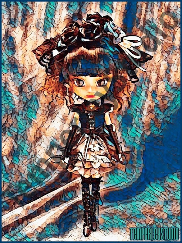 Pretty cosplay type doll in steampunk costume set in a surreal background