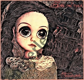 Suzy sad eyes doll in the woods