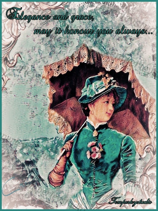 Lady with a parasol in a vibrant but elegant setting with a quote