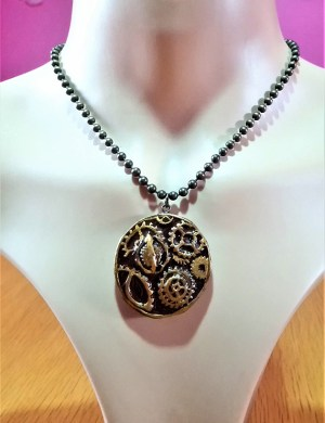 Hand painted cog necklace