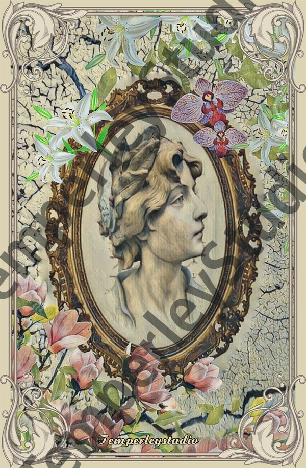 Shabby chic cameo in flowers and decorative frame