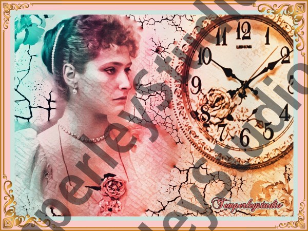 Victorian lolita gradient girl and clock