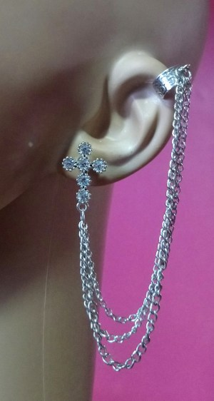 Silver jewelled cross and chain cuff earring