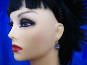 Goth girl cameo earrings