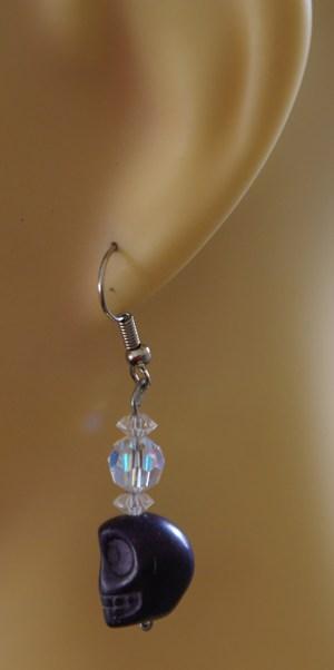Gothic Lolita purple skull and crystal bead earrings