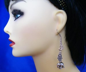 Silver 3D elephant OM and hand earrings