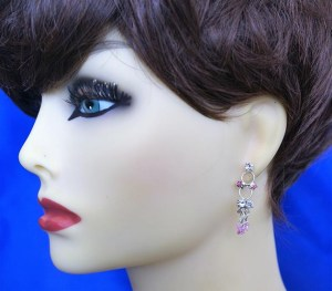 Pink and crystal jewel earrings