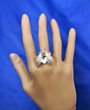 Silver jewel fly ring