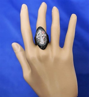 Black Celtic cross cameo ring