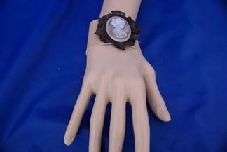 Lolita steampunk cameo leather bracelet