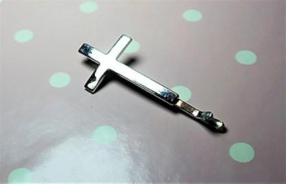 Silver cross hair slide